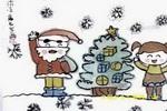 快乐圣诞儿童水墨画
