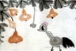 小公鸡戏蜘蛛儿童画作品欣赏