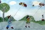 放风筝儿童水墨画