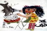 小厨师儿童水墨画