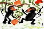双猴图儿童画