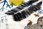 望月图儿童画作品欣赏