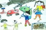上学路上儿童画3幅