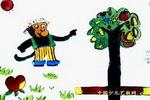 快乐小猴和神奇树儿童画