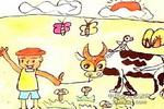 放牛娃儿童水墨画