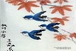 枫叶与小鸡儿童画作品欣赏