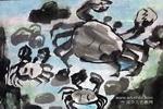 大螃蟹儿童水墨画