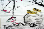 斑鸠桃花儿童画