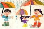 下雨了儿童画3幅
