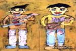 两个表演者儿童画作品欣赏