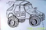 《新型战车》儿童速写画