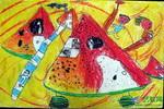 《我住在西瓜房里》儿童画