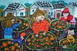 《柿子红了》儿童画