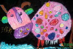 《我给奶牛穿花衣》儿童画