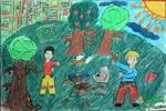 《山坡》儿童画