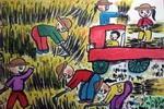《收麦子》儿童画