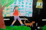 《我和阿黄》儿童画