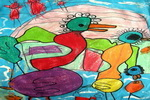 火烈鸟和它们的家儿童画