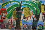 《摘香蕉》儿童画
