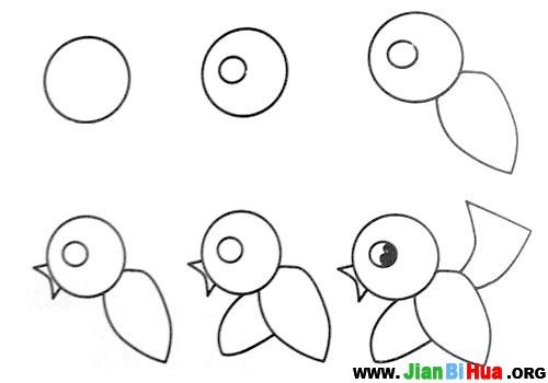 鱼、刺猬、小毛驴、骆驼、老鼠、小鸟简笔画教程