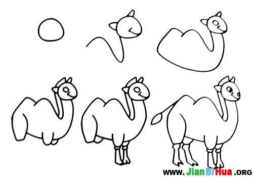 鱼 刺猬 小毛驴 骆驼 老鼠 小鸟简笔画教程 第2张