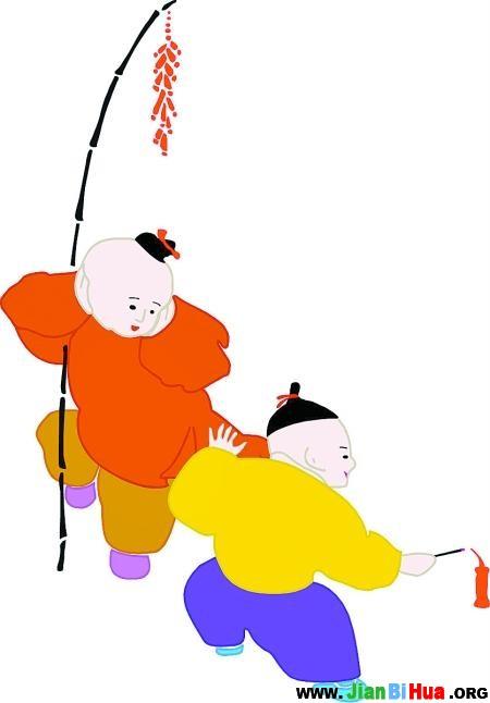 春节放鞭炮简笔画图片3张