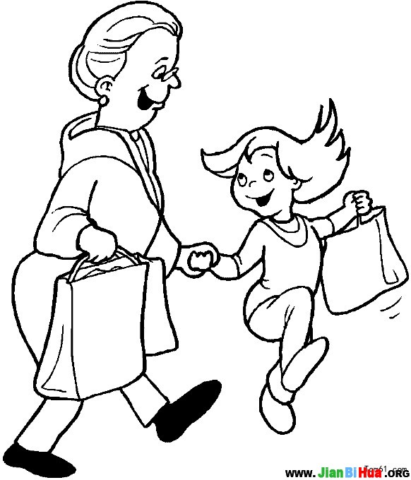 girls going shopping coloring pages | 帮助和扶老人过马路简笔画