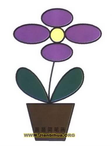 一盆花简笔画图片教程