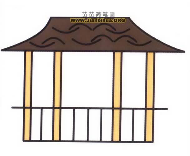 江南水乡亭子风景简笔画_风景520
