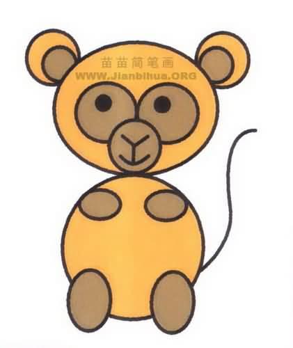 卡通猴子简笔画图片教程
