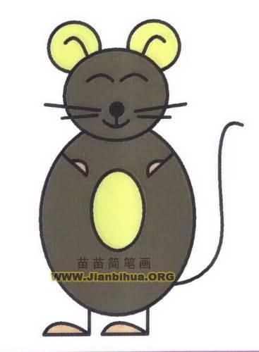 卡通小老鼠简笔画图片教程