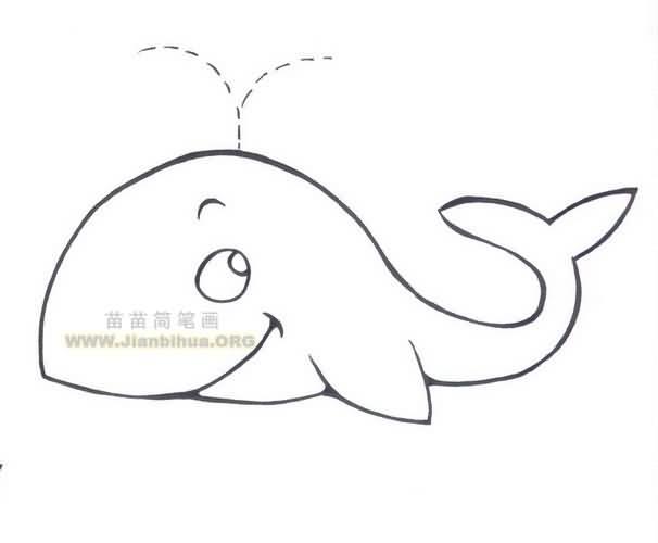 一碗热汤简笔画图-卡通鲸鱼简笔画图片大全