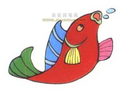 一碗热汤简笔画图-小鲤鱼简笔画图片大全