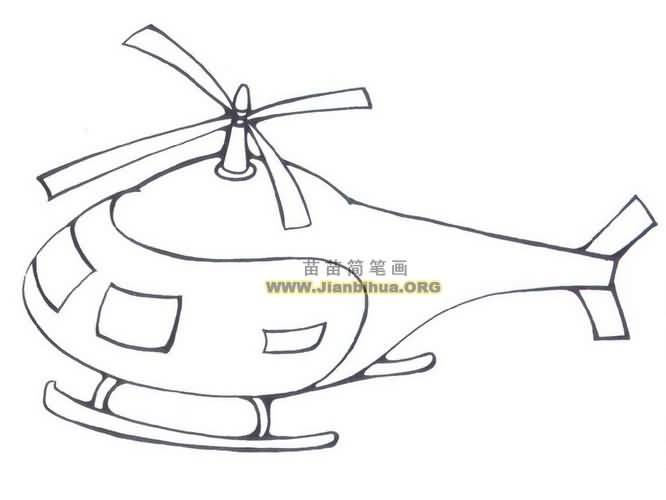 直升飞机简笔画图片三 直升机主要由机体和升力(含旋翼和尾桨)、动力、传动三大系统以及机载飞行设备等组成。旋翼一般由涡轮轴发动机或活塞式发动机通过由传动轴及减速器等组成的机械传动系统来驱动,也可由桨尖喷气产生的反作用力来驱动。