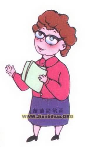 女老师简笔画图片大全图片