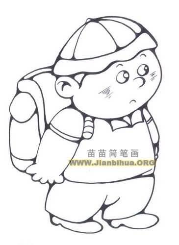 小学生背书包简笔画图片