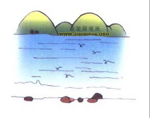 关于大海的简笔画图片3张