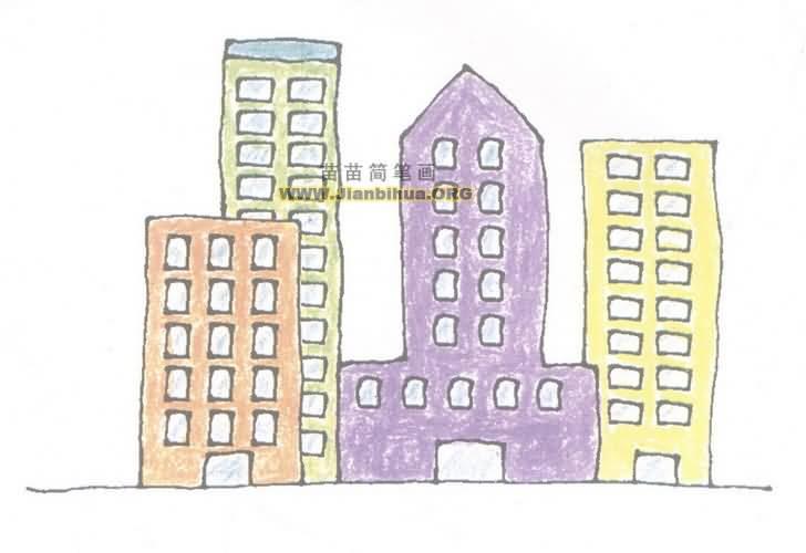 高楼大厦简笔画图片教程