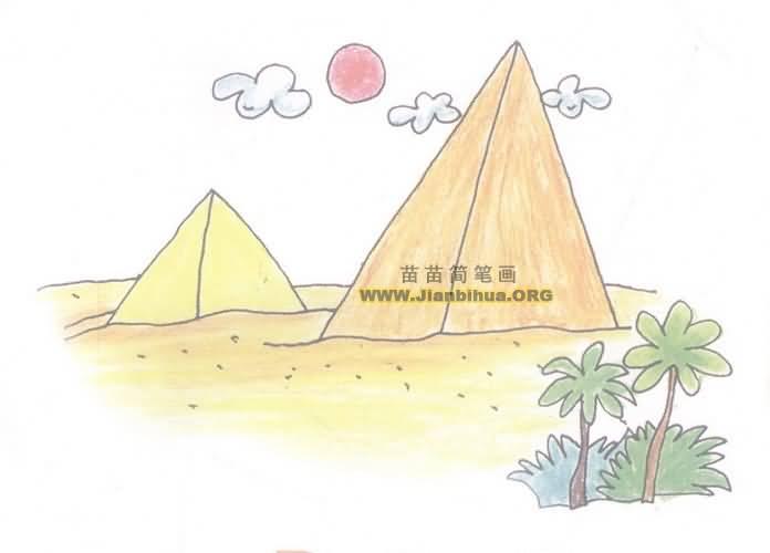 埃及金字塔简笔画图片教程