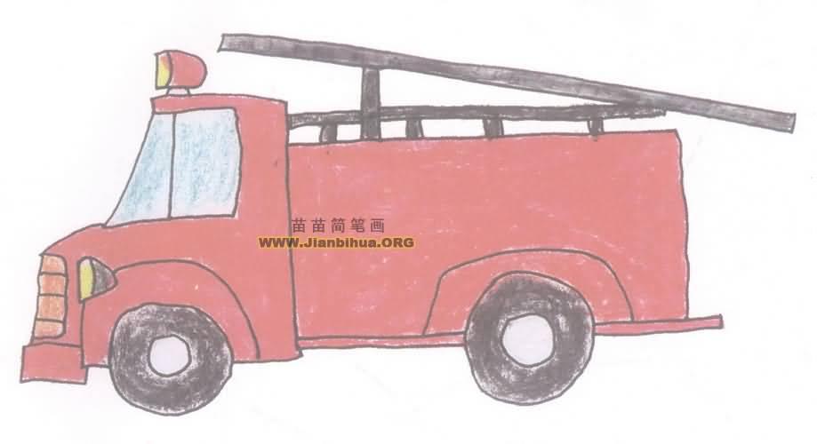 消防车简笔画图片教程