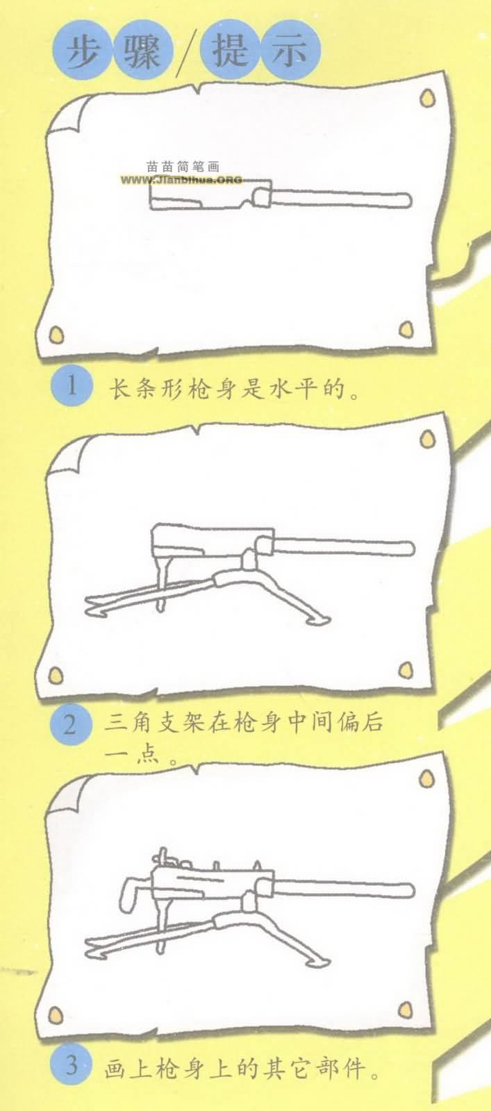重机枪简笔画