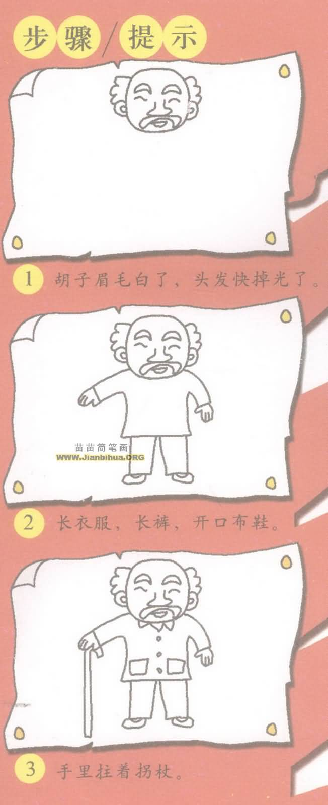 老人简笔画图片教程