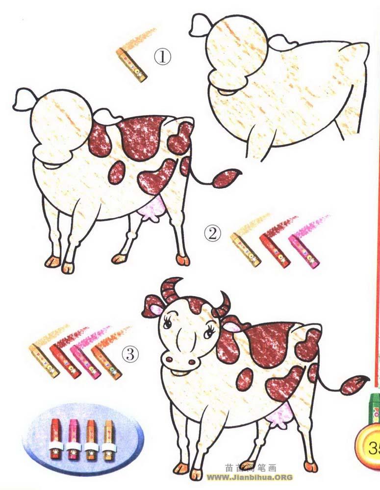 奶牛简笔画图片
