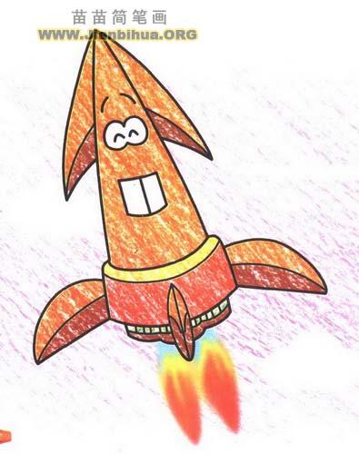 火箭简笔画画法图解
