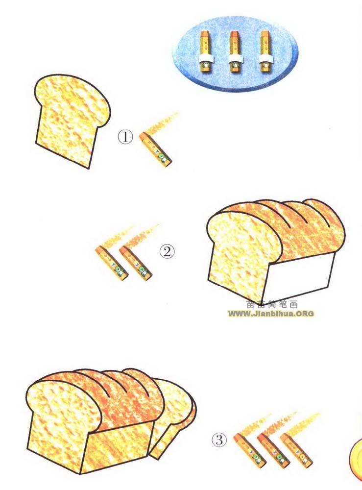如何画面包简笔画图片教程