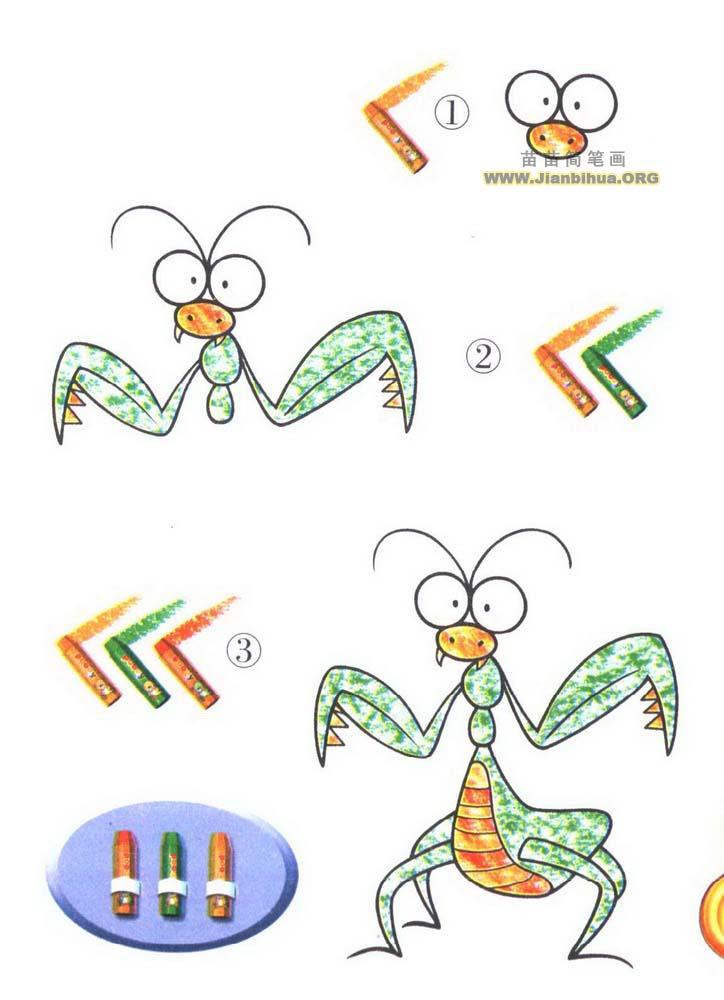 如何画螳螂简笔画图片教程