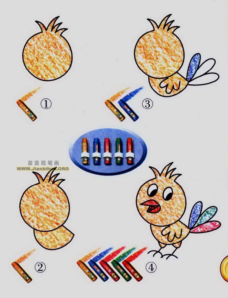 儿童动物一笔画图片:小鸟_儿童画网