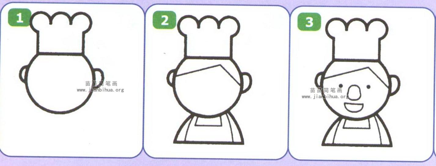 厨师简笔画图片大全(3个教程)