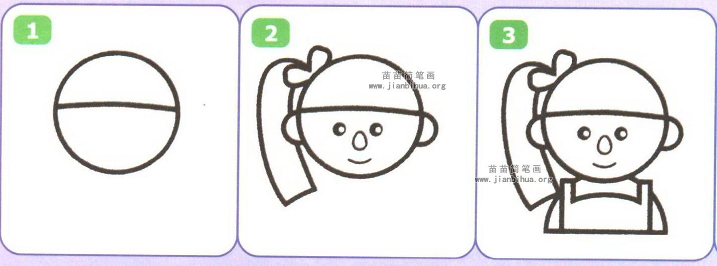 漂亮女孩头部简笔画图片大全(4个教程)