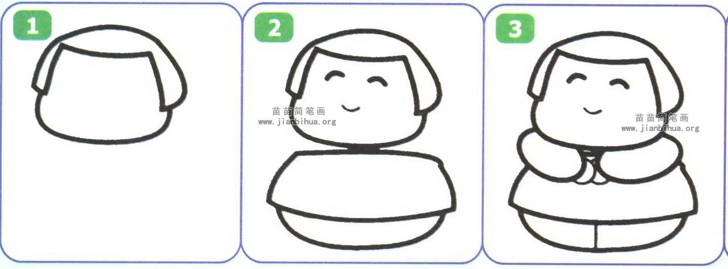 胖胖的小女孩简笔画图片 3个教程